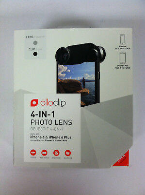 New Olloclip 4 In 1 Photo Lens For iPhone 6 6 Plus Wide Angle Silver Black *