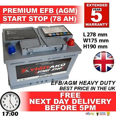 096 100 START STOP AGM 72AH Heavy Duty 12V Car Battery More power than AGM / EFB