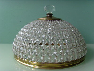 Vintage French SPARKLING CRYSTAL BRASS CEILING LIGHT FIXTURE WALL LAMP France