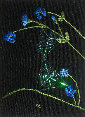 """ACEO Original """"Cornflowers and Double Webs"""" Silk Hand Embroidery - A Lobban"""