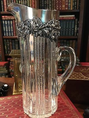 "Antique Sterling Silver Top, American Brillant Cut Glass Pitcher: 10"" Tall: Jug"