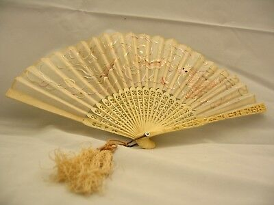Antique Chinese silk and bones (ivory?) fan