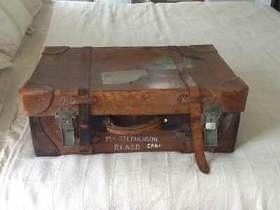 Antique Leather Motoring Steamer Suitcase,Collectibles,Movie,Theatre,Vintage