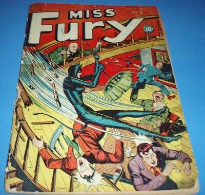 MISS FURY #1 (TIMELY 1942)  1st Appearance Golden Age Key Complete Unrestored