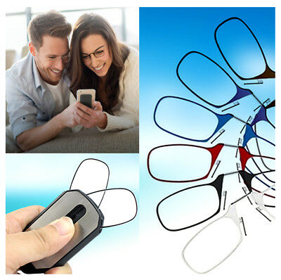 Unisex Flexible Portable Wallet Mini Reading Glasses Pocket Phone Nose Clip uk