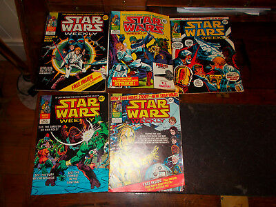 marvel comics, 1978  star wars weekly x5, issue 1,2,4,13,15.