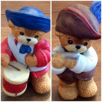 Lucy & Me Ceramic Figure Lucy Rigg Enesco 1987 Colonial Bear Fife & Drum Player