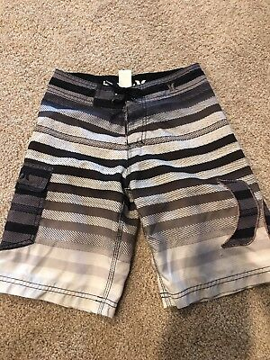 Boys Youth Hurley Polyester Black/Grey/White Board Shorts Swim Suit Size 8