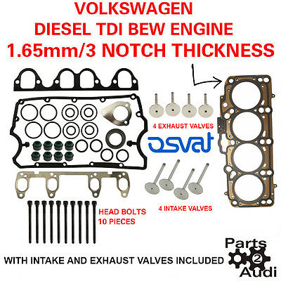 3 NOTCH Cylinder Head Gasket Set OE With Bolts VW Diesel 1.9 BEW Engine