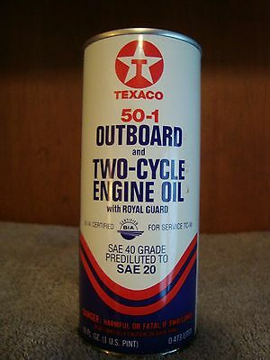 Vintage Texaco Outboard Motor Oil Metal Can 16 Oz / 1 Pint