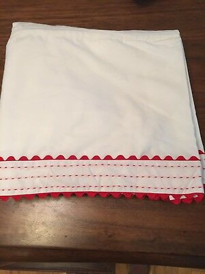 New Rare Pottery Barn Kids Red Ric Rac  Cotton Crib Bed Skirt White