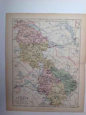 Leitrim 1882 Antique County Map, Ireland, Atlas, Bartholomew, Londonderry
