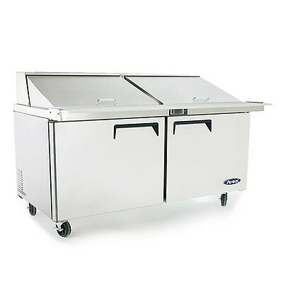 """New 60"""" 2 Door Mega Sandwich Prep 24 Stainless Pans Included W Casters Free Ship"""