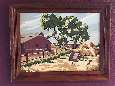 Vintage Paint by Numbers 1950's Farm Scene Horse Corral Barn Tree Cool Art Work