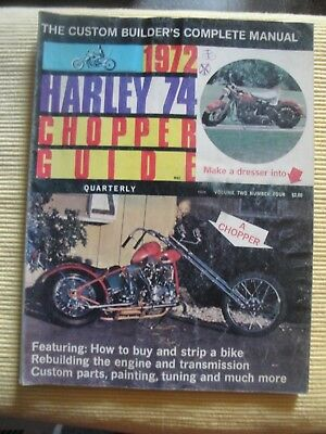 Vintage 1972 Chopper Guide Quarterly Harley Motorcycle Manual Complete Used