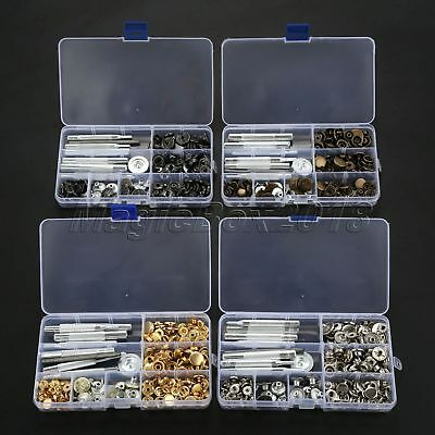 50Sets Snap Fastener Press Stud Buttons+9pcs Fixing Tools Kit Handmade Patchwork