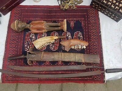 C1900 Collection 6 African congo colonial antique statue mask sword jawbone axe