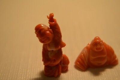 Pair Old Natural Chinese Red Coral Hand Carved Buddha