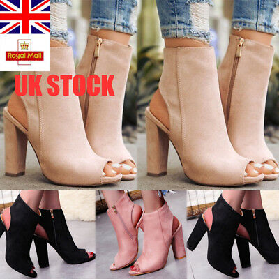 New UK Womens Block High Heel Sandals Peep Toes Ankle Boots Zipper Up Shoes Size