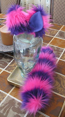 Cheshire Cat pink purple striped luxury shag fur ears,tails & sets in 2 sizes