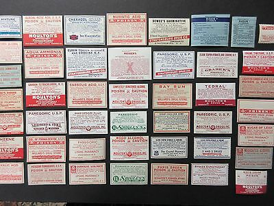 45 Old Poison & Narcotic Medicine Pharmacy Bottle Labels=Vintage Lots