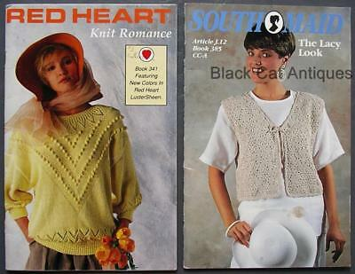 Vintage Lot Of Two 2 Knitting Books South Maid Book #385 & Red Heart Book #341