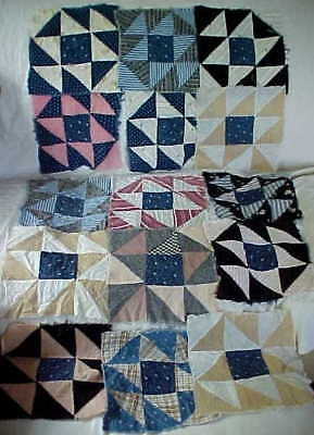 Lot 15 Grandma's Early Antique Quilt Blocks, Hand Stitched Very Old