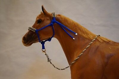 Handmade Breyer Traditional Padded Rope Halter with Lead- Blue with Gray