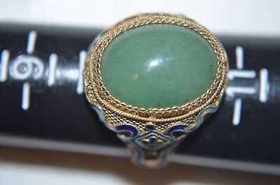 Antique Chinese Silver Jade  Cloisonne Gilt Ring