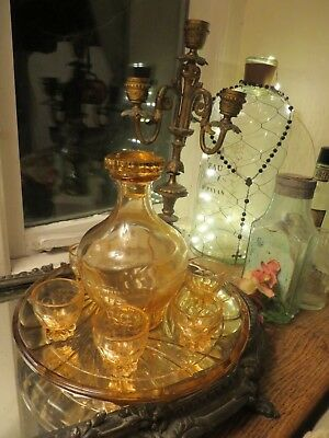 Super Vintage French Art Deco Glass Aperitif Set With Decanter & Tray