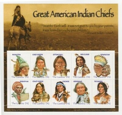 Gambia - 2005 - Great American Indian Chiefs - Sheet of 10 stamps MNH