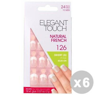 ELEGANT TOUCH Set 6 Fake Nails natural 126 french short pink