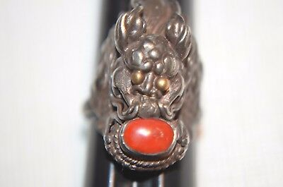 Antique Chinese Silver Dragon Ring With Red Coral.