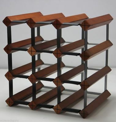 12 Bottle Timber Wine Rack - Mahogany - Home Wine Storage
