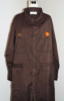 Vintage Unitog Men's Coveralls Shell Gas Oil Brown Union Made In USA Large Long