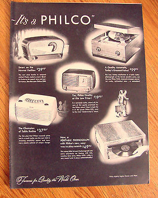 1947 Philco Radios Phonograph's Ad   Shows 5 Models Portables