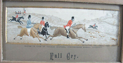 Antique 19th C Stevengraph Woven Silk Picture Tapestry Full Cry Fox Hunt yqz