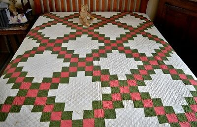 Antique Hand Stitched Irish Chain Quilt