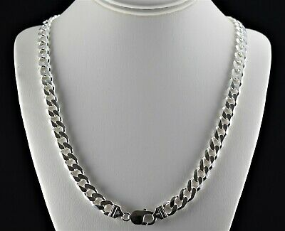 Heavy 10mm Solid 925 Sterling Silver Cuban Link 6 Sided Curb Chain 20 24 30 Mens