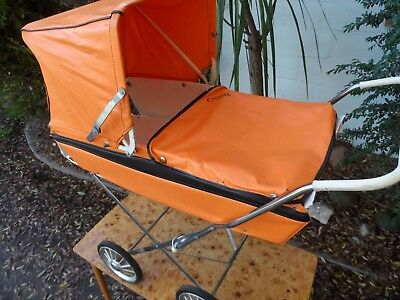 VINTAGE '50's 60's ORANGE W APRON & BLACK TRIM CYCLOPS DOLLS PRAM FOLD UP RETRO
