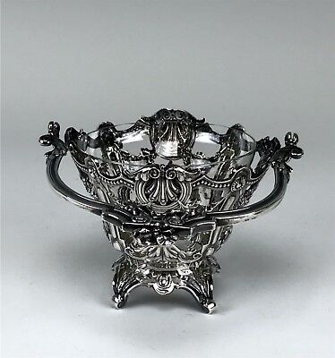 Lovely Sterling Silver Openwork Sweetmeat Basket With Glass Insert Bowl