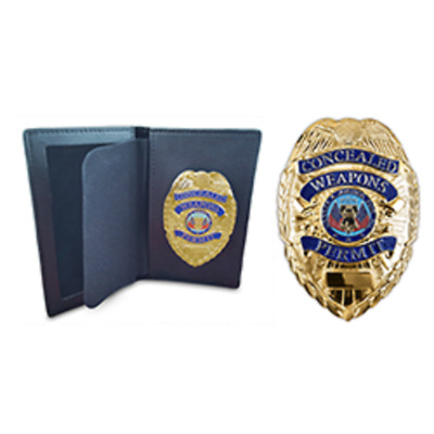 GOLD CONCEALED CARRY PERMIT CCW BADGE + Leather Wallet For CWP Permit