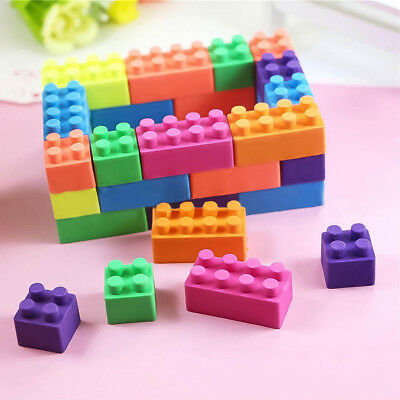 6pcs Coloured Building Brick Block Erasers Rubber Eraser Student Study Supplies