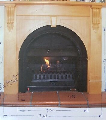Vintage gas fireplace aud picclick au - Fireplace mantel piece ...