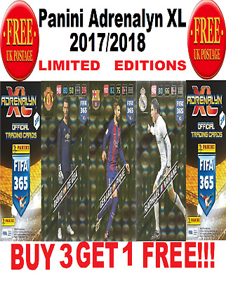 "Panini Adrenalyn XL FIFA 365 2018 LIMITED EDITIONS ""BUY 3 GET 1 FREE"""