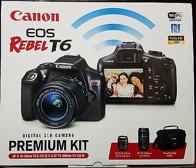 Canon EOS Rebel T6 Digital SLR Camera Kit with EF-S 18-55mm EF 75-300mm Zoom New