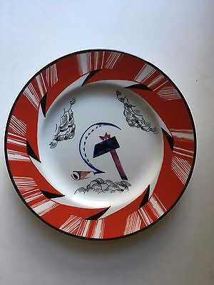 Antique Russian/Soviet Propaganda Porcelain Plate by Mikhail Adamovich