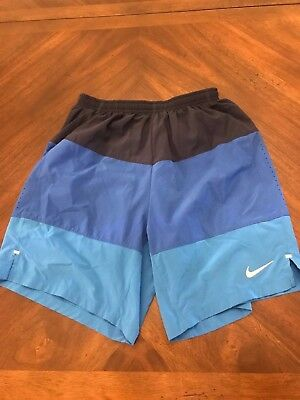 Nike Dri-Fit Light Weight Running Athletic Mens Blue Black Shorts Size S Small