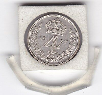 Very  Sharp  1937   King George  VI   Maundy  Four  Pence  (m4d)  Silver  Coin