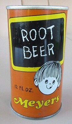 1960's Straight Steel Meyers Root Beer Pull Tab Soda Pop Can Bottom Open